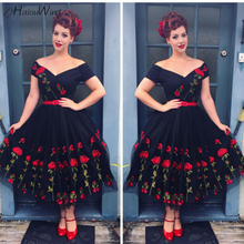 2019 Vintage Floral Embroidery A-line Dress Mesh Slash Neck Party Evening Elegant Dresses Women Vintage Rockabilly Dress Robes