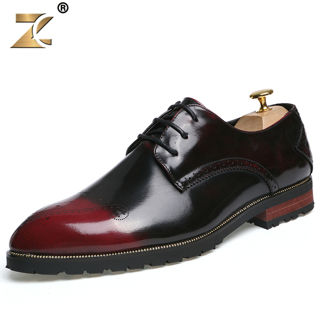 Z 2016 Famous Retro Clossy Red Men Casual Shoes Genuine Leather European Style Fashion Outdoor Breathable Oxford Men Shoes