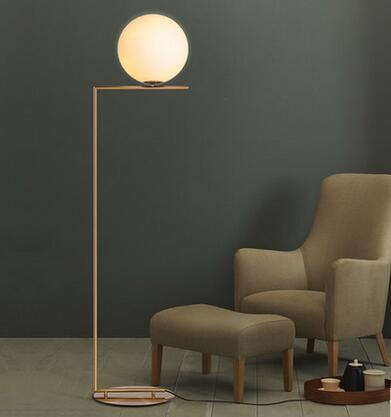 Modern simple glass ball stand lamp floor lamp nordic personality bedroom bedside living room sofa round
