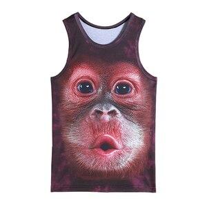 Męskie zwierzę goryl małpa drukowane podkoszulki 3D ćwiczenia top bez rękawów dla chłopców odzież sportowa do kulturystyki ćwiczenia podkoszulek kamizelka