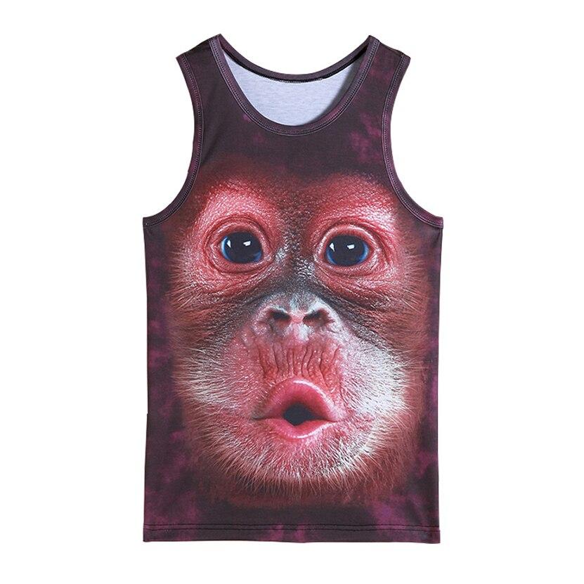 mens animal gorilla monkey printed 3D Tank Tops Exercise Sleeveless tops for boys bodybuilding clothing exercise undershirt vest