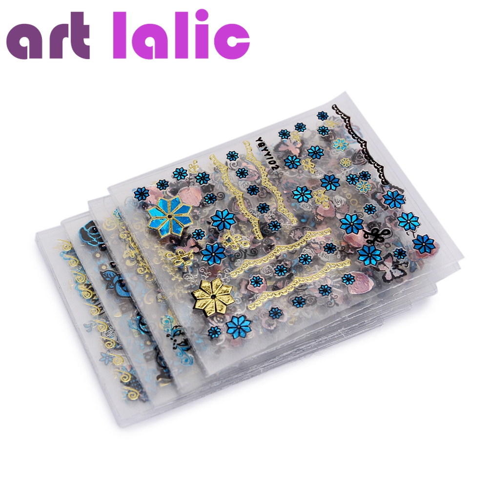 24Pcs/Lot Gold Blue Foil Nail Stickers DIY Glitter Beauty 3D Nail Art Decorations Stamping Manicure Stickers For Nails Decals fwc hot diy designs nail art beauty flower water stickers nails decoration decals tools