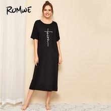 ROMWE Letter Print Black Night Dress Summer Short Sleeve Round Neck Women Sleepwear Casual Long Sleeping Dress Ladies Night Wear недорого