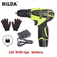 HILDA 12 В Шуруповерт Литиевая Батарея Аккумуляторная многофункциональный Электрическая Дрель Электроинструмент