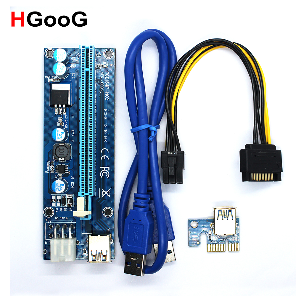 HGooG 009S PCIe PCI-E PCI Express Riser Card 1X 4x 8x 16x USB 3.0 Data Cable for BTC Miner with 2 LEDs