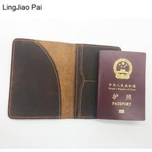 Wasser kastanien Pai Reise Crazy Cow Haut Reisepass Unisex Rindleder-echtes Leder Solide Passport Schützkarte Abdeckung