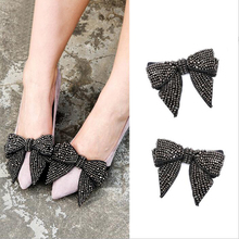 1 Pair New Fashion Single Crystal Bowknot Hand-made DIY Butterfly knot shoe buckle Decorative Shoes Accessory Holiday Gift