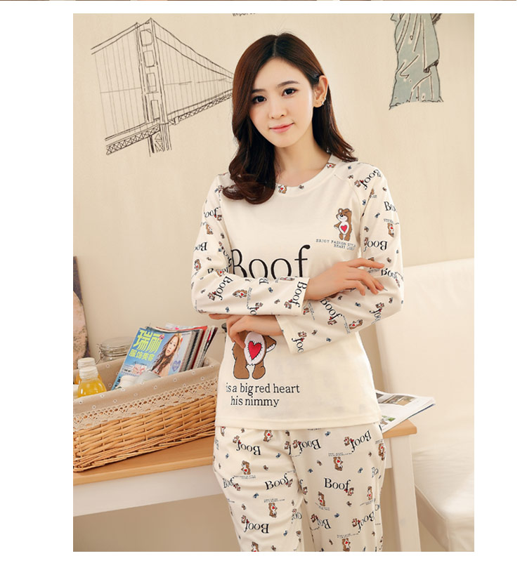 0e03f5d856 Fashion Woman Lovely Wear Leisure Clothes Personality 2018 Autumn Long  Sleeved Women Pajamas for Women Pyjamas Sets Nightwear-in Pajama Sets from  Underwear ...
