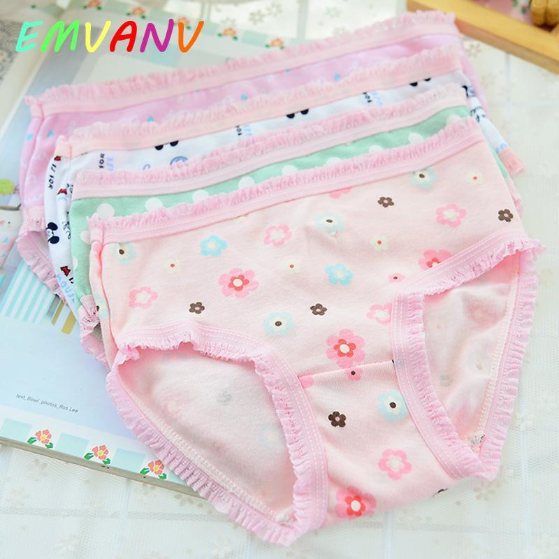 5PCS Kids Girls soft underwear Short Briefs Lace up Cotton Panties children underwear child cute shorts Underpants age 0-10Y