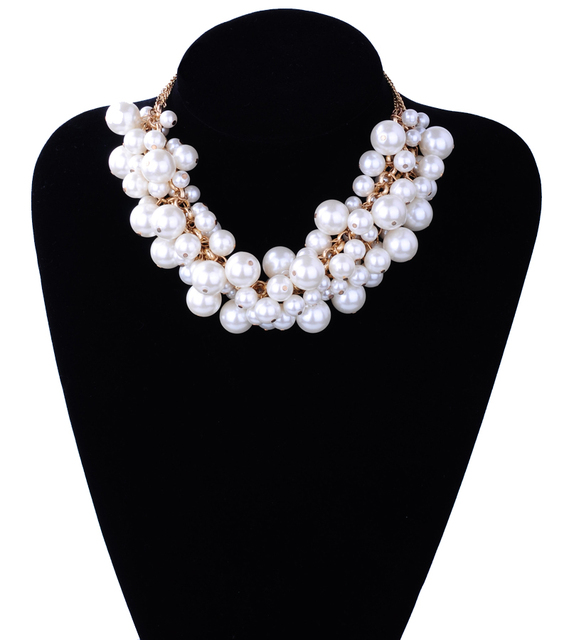 Handmade Chunky Imitation Pearl Necklace New Trendy Fashion Elegant Multilayer Collar Necklace Statement For Women Jewelry