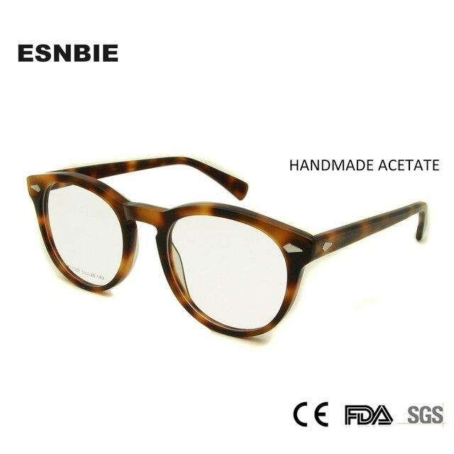 232e6df729 ESNBIE Designer Optical Eyewear Frames Women Round Clear Glasses Lentes  Opticos Hombre Vintage Rivet Eyeglasses Men