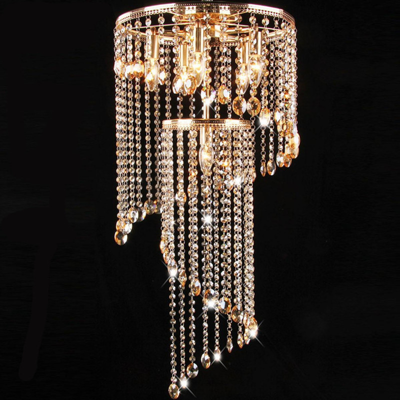 Spiral Stairwell lamp led crystal lighting champagne crystal ceiling lights bedroom surface ceiling lamps dining room light