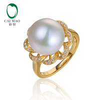 14KT/585 Yellow Gold 12 13mm Round Freshwater Pearl with Diamond Engagement Wedding Luxury Ring