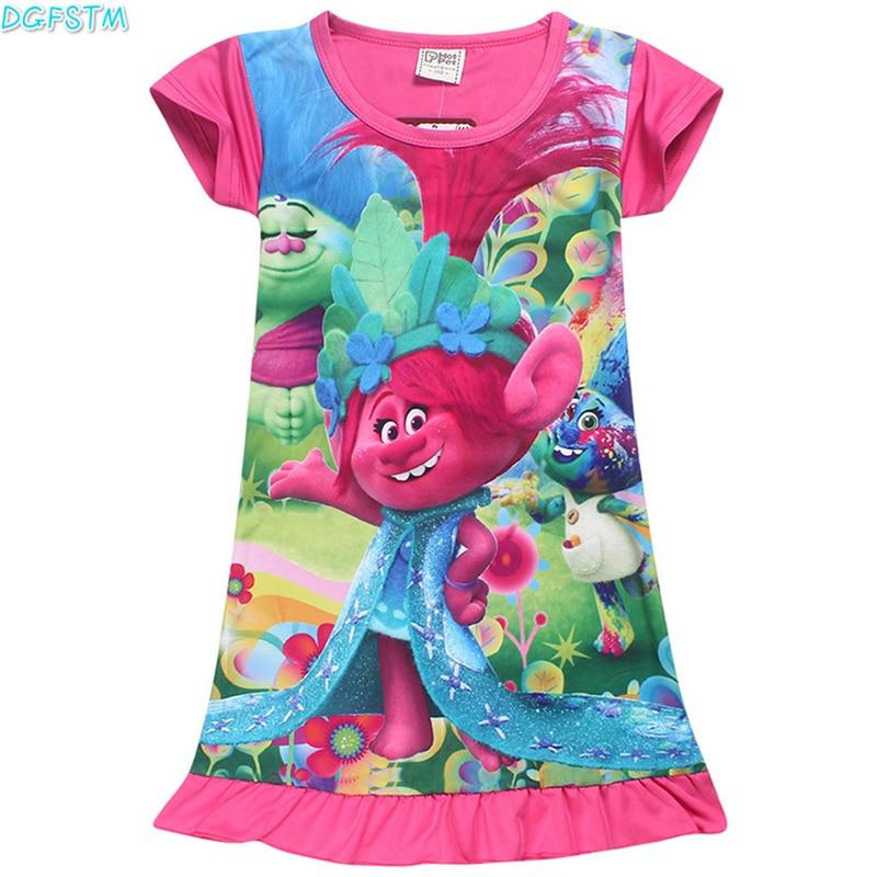 2017 New Summer Bohemian Style Girls pajamas Dress cartoon Trolls Sundress For Girls Beach Dress Clothes Moana Vestidos Infantil женское платье bohemian i women summer beach dress 2015 o vestidos w0014