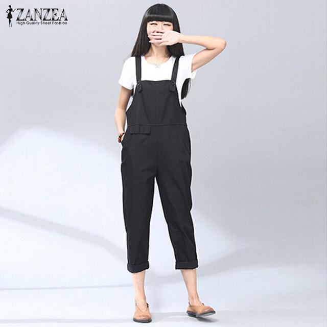 ZANZEA Moda 2016 Outono Rompers Womens Jumpsuit Do Vintage Calças Jardineiras de Algodão Sólida Casuais Macacões calças Compridas Playsuit Plus Size S-5XL