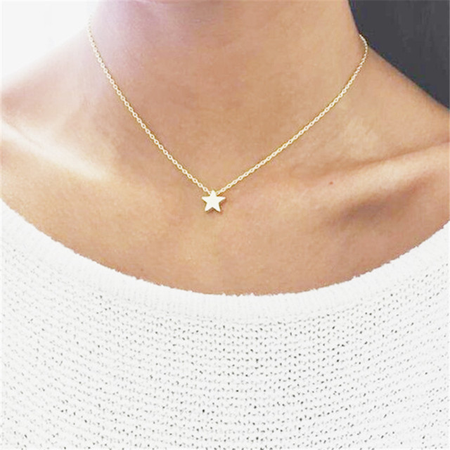 802dac5e9cd7bd Tiny Gold Star Necklace For Women Short Link Chain Choker Star Necklaces &  Pendants Simple Minimalist