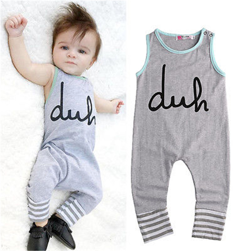 a30494b0b030 Children Baby Romper Clothing Toddler Infant Newborn Baby Girl Boy Romper  Sleeveless Latin Letter Gray Jumpsuit Outfits Clothes