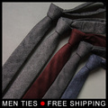 2017 Woven Wool Tie Men 5cmm Slim Skinny Narrow Corbata Linen Plaid Necktie wool Gravata Wedding Party Gift