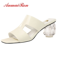 ANMAIRON 2019 New Arrival  PU Solid Summer High Heel Slippers Outside Women Sexy 6 Colors Shoes Size 34-40 LY1791