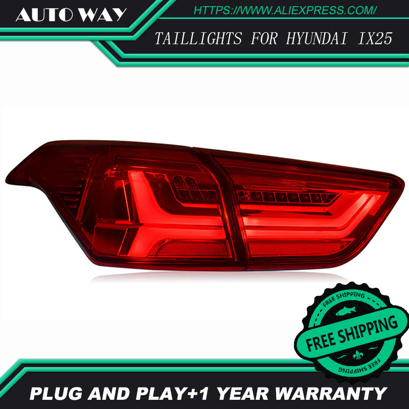 Car Styling tail lights case for Hyundai ix25 2016 Certa taillights LED Tail Lamp rear trunk lamp cover car rear trunk security shield shade cargo cover for hyundai creta ix25 2014 2015 2016 2017 black beige