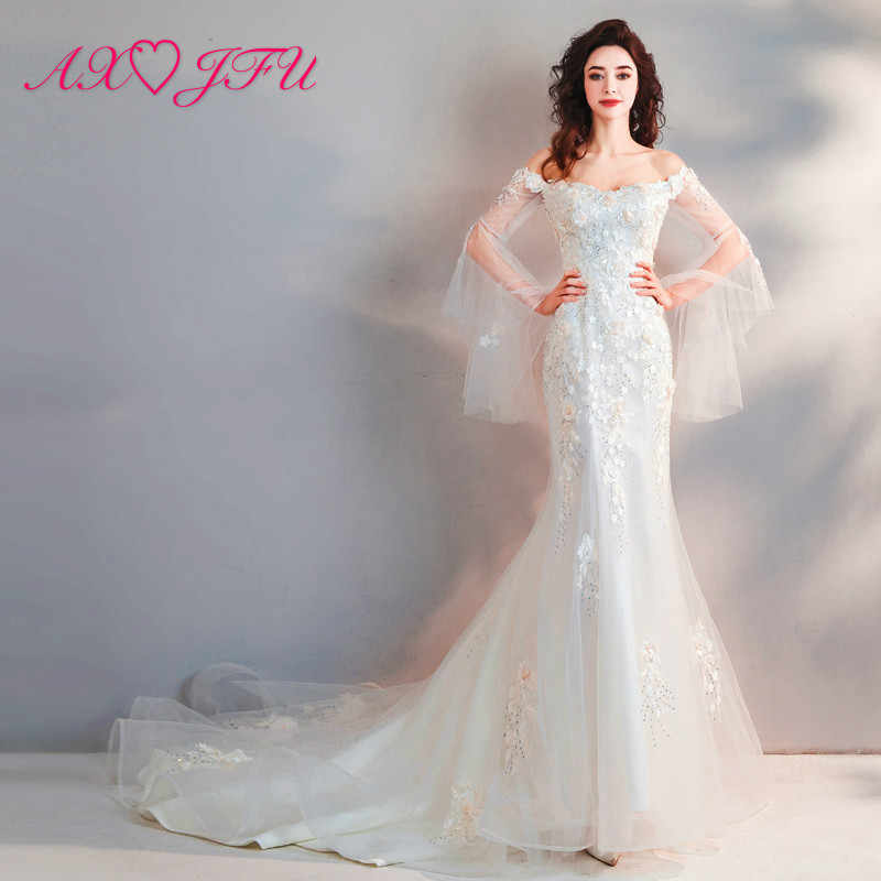 8303dcaac9b AXJFU сексуальные кружева цветок Кристалл Русалка свадебное платье бисером  цветок принцесса Винтаж Белый Труба Свадебное платье