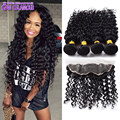 13x4 Lace Frontal Closure With Bundles Brazilian Virgin Hair Deep Wave With Closure 4 Bundles Human Hair With Lace Closure