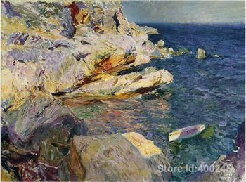 Impressionist art Rocks and white boat Javea Joaquin Sorolla y Bastida paintings home decor Handmade High quality