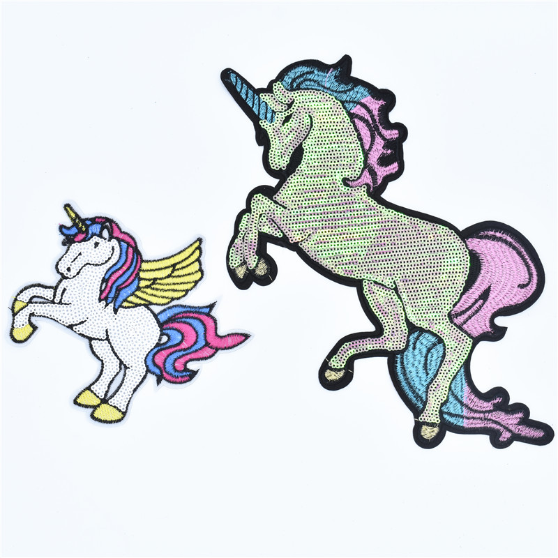 2 Pcs/Lot large Stickers For Clothes Patches horse mbroidery Patch DIY Patches For Clothing Applique Embroidery Flower Patches