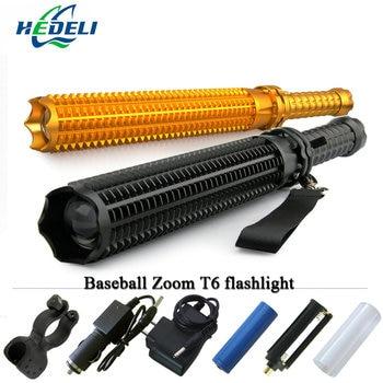 Potente linterna led telescópica cree xml t6 linterna táctica bate de béisbol bate de luz flash autodefensa 18650 recargable