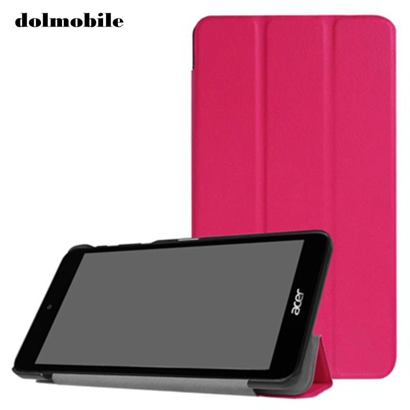 dolmobile Three Folding PU Leather Case Cover for Acer Iconia One 7 B1-790 B1 790 7.0 inch Tablet + Stylus Pen 100pcs