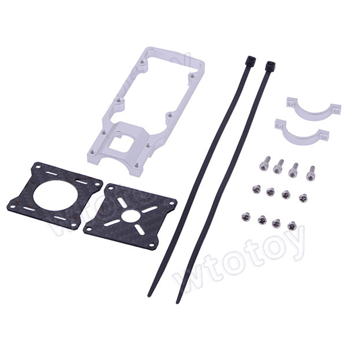 F07939 20mm CNC Aluminum Alloy Motor Mounting Holder Bracket Silver for RC Multicopter Carbon Tube + FS 20mm cnc aluminum motor mounting holder bracket for rc motors silver