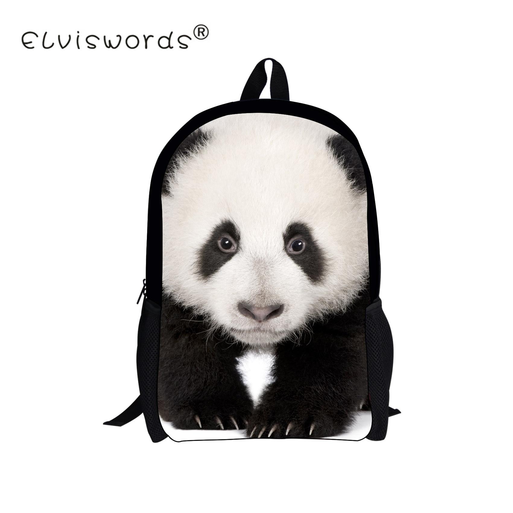 ELVISWORDS Animal Zoo Children Student School Bags for Teenager Boys Girls Panda Wolf Women Casual Bag Kids Schoolbag Mochila