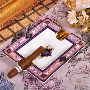 High-end Roze Gadgets Europese Patroon Twee Houder Keramische Sigaar Asbak W/Originele Geschenkdoos