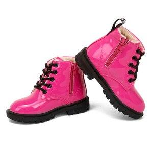 Image 4 - Stivali Martin per bambini stivali da moto impermeabili in pelle PU stivali da neve per bambini invernali scarpe da principessa per ragazze di marca stivali di gomma