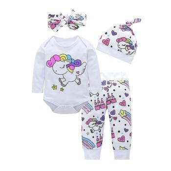 Newborn Baby Girl Clothes Sets Infant Fashion Unicorn Pegasus Star Heart Castle Tops+Pants+Hat+Headband 4PCS Baby Girl Clothing 1
