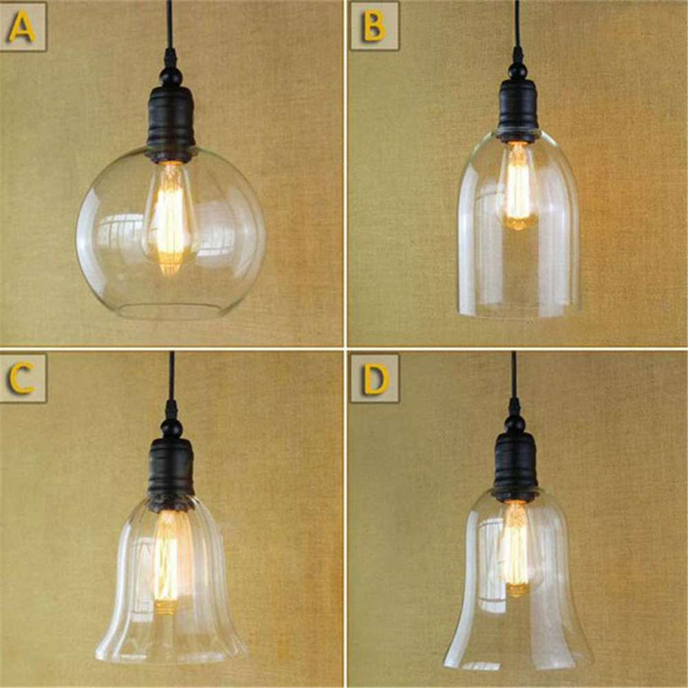 AC100-240V Modern glass lampshade pendant lights Creative retro antique black ball art deco pendant hanging lamps