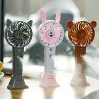 New Arrival Cute Animal Spray Fan Handhel Rechargeable USB Cooling Fan Home Office Outdoor Water Mist