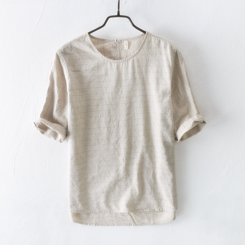 Summer New Mens Casual Linen T Shirt Japanese Retro Style Thin Striped Short Sleeve T Shirt Brand Clothes In T Shirts From Mens Clothing On