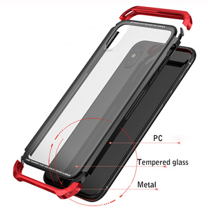 Image 3 - For iPhone X Case Metal Slim Cover Tempered Glass Aluminum Plastics Side Hybrid Covers for iPhoneX 10 Clear Case Original Luxury