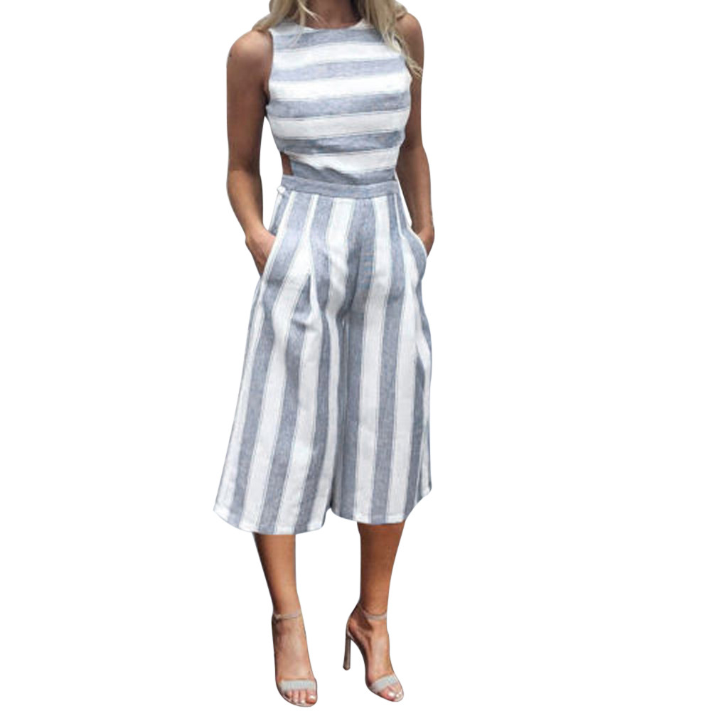 FREE OSTRICH Personality women's sleeveless striped   jumpsuit   casual style comfortable club wide leg pants suit simple   jumpsuit