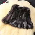 Genuino real natural fox Fur Coat mujeres fashional silver fox Chaqueta de Piel de invierno chalecos de piel de Cristal de encargo más el tamaño