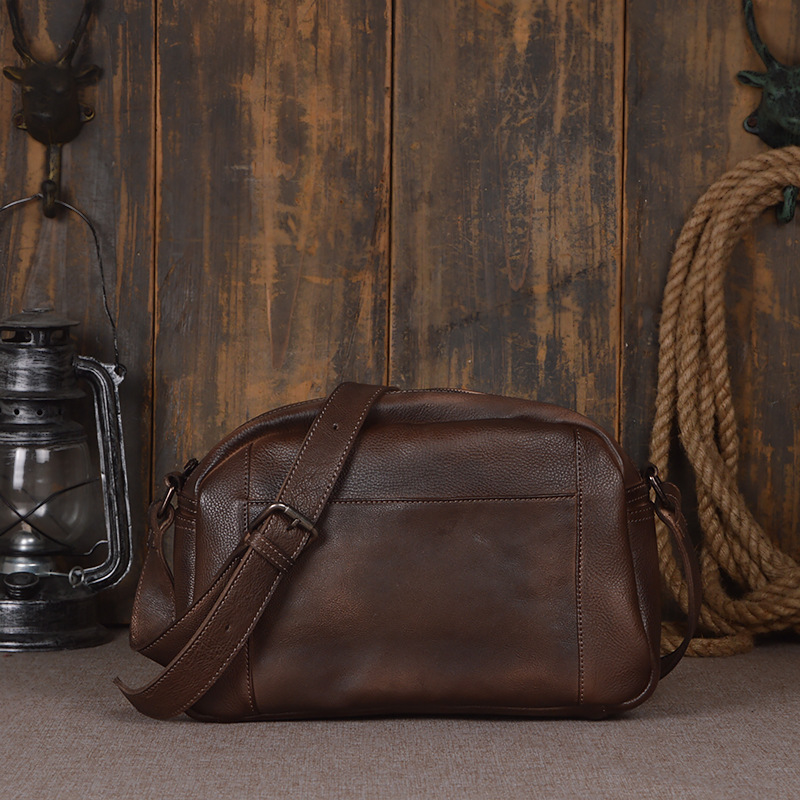 Vintage Fashion Mens Leather Bag Brand Casual Business Mens Bag High Quality New Mens Travel Crossbody Bag Promotion