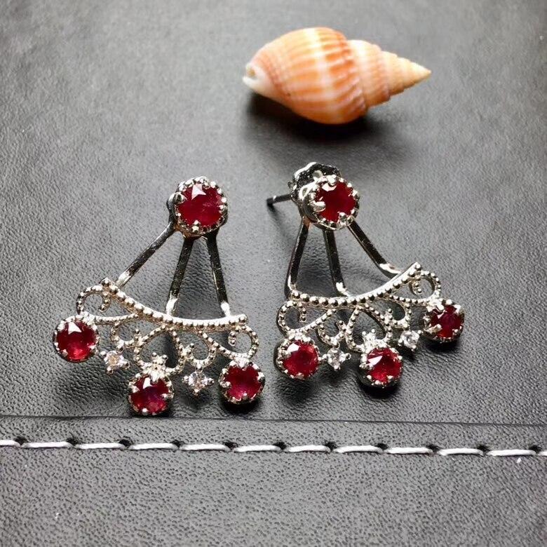 Boucles d'oreilles en argent naturel rouge rubis 925 boucles d'oreilles en argent naturel pierres précieuses femmes rétro belle Fan évider femme bijoux de fête