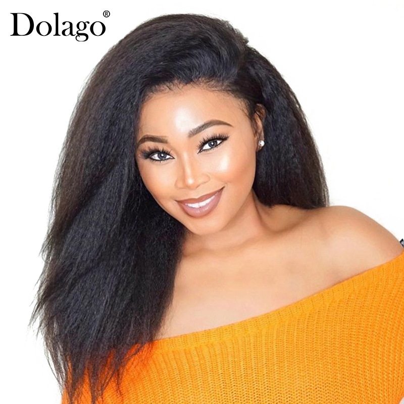 Silk Base Full Lace Human Hair Wigs Kinky Straight Pre Plucked Hairline Brazilian Remy Hair Full Lace Wig With Baby Hair Dolago