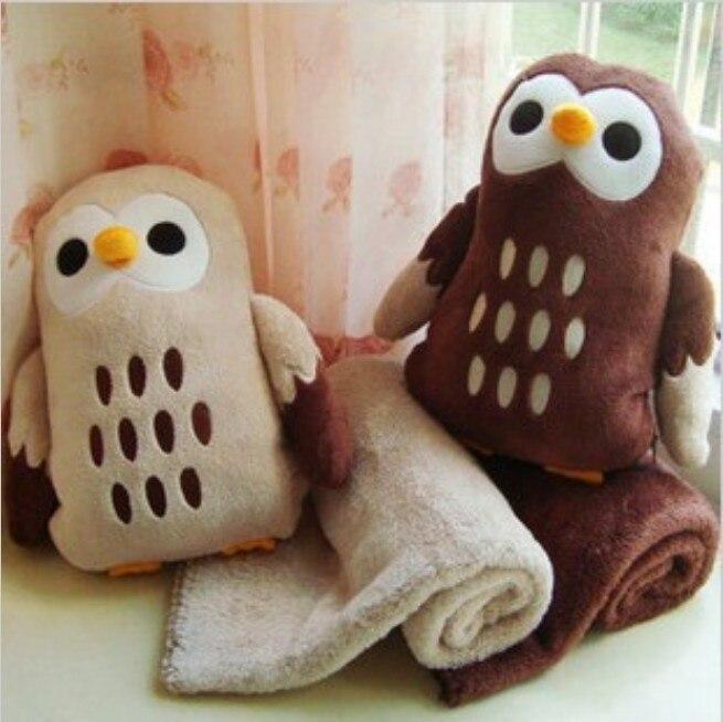 adamant ant Free Shipping Kawaii Plush Lovers Owl Air Conditioning Coral Fleece Blanket Dual Plush Toy Nap Pillow Cushion Retail