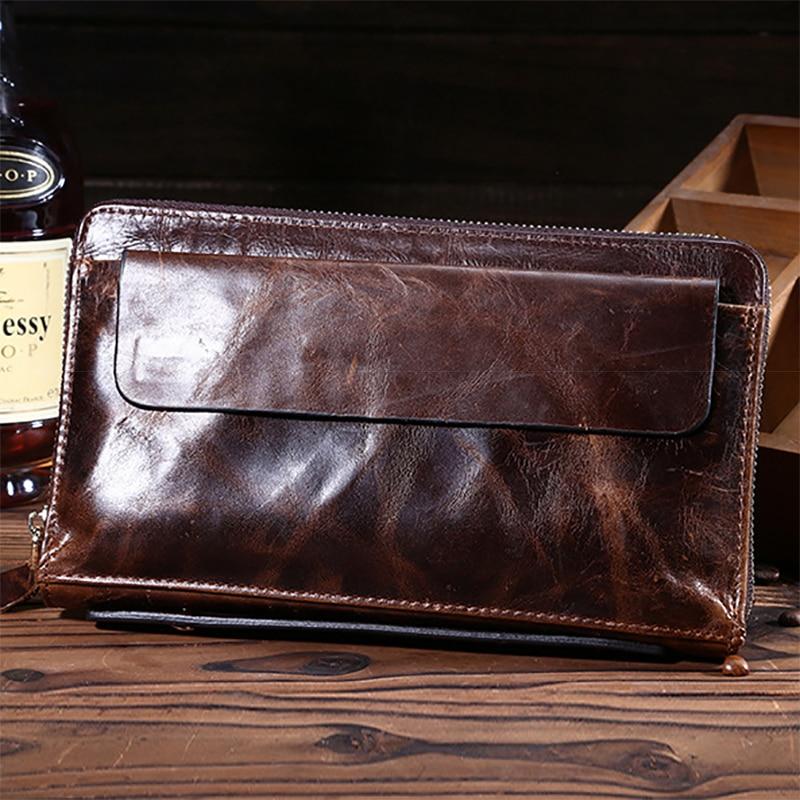 High Quality Oil Wax Cowhide Men Long Wallet Vintage Money Pocket Card Holder Bifold Purse Genuine Leather Zipper Clutch Bag