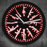 1Piece Different Guns Military Weapons Modern Design Gun And Bullets LED Neon Sign Wall Clock Color Change With Remote Control