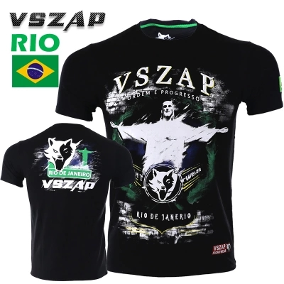 VSZAP  Boxing MMA T Shirt Gym Tee Fighting Martial Arts Fitness Training Muay Thai Men