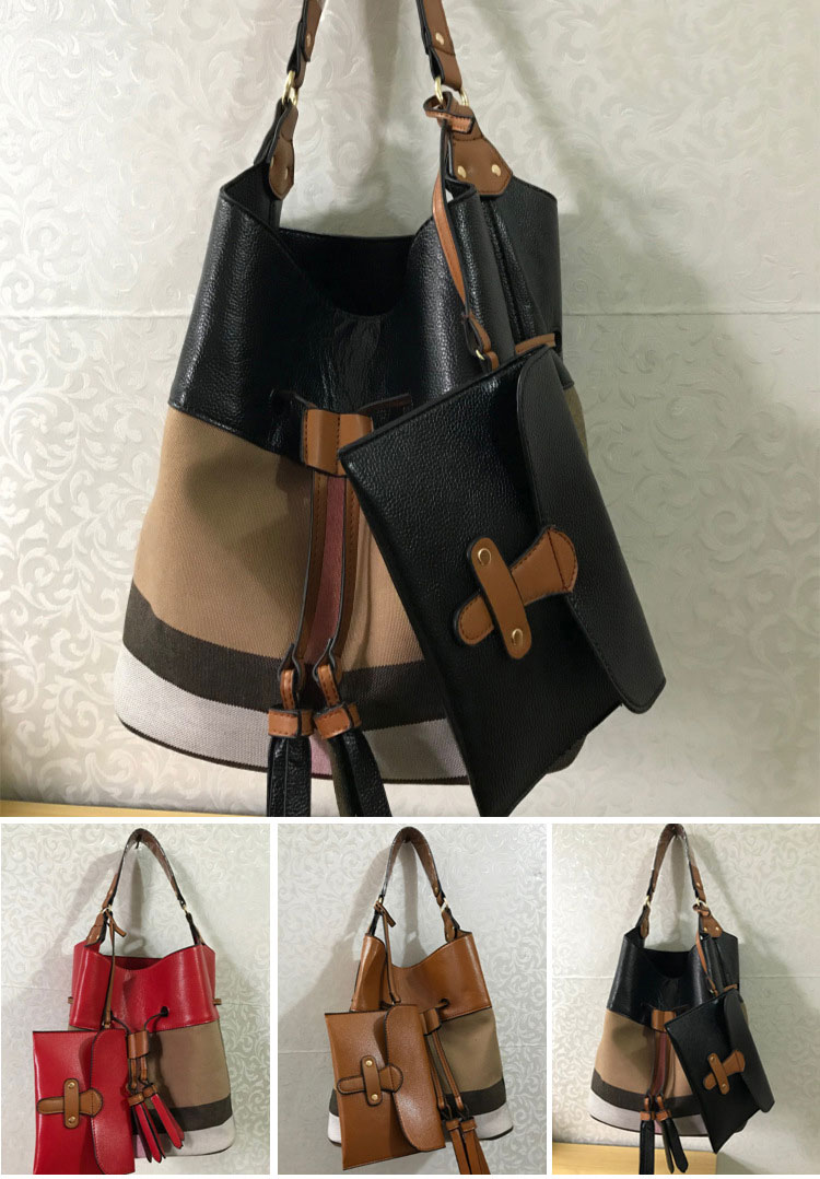 77d1602ace ... famous branded plaid women bags with logo classic bucket bag with small  purse stripe shoulder bags ...