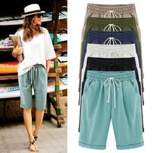 49e0d10b Mujer pirata pantalones cortos casuales cintura elástica suelta con  bolsillo de moda de verano para AIC88